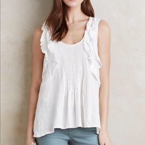 Deletta White Pleated Ruffle Tank Anthropologie S